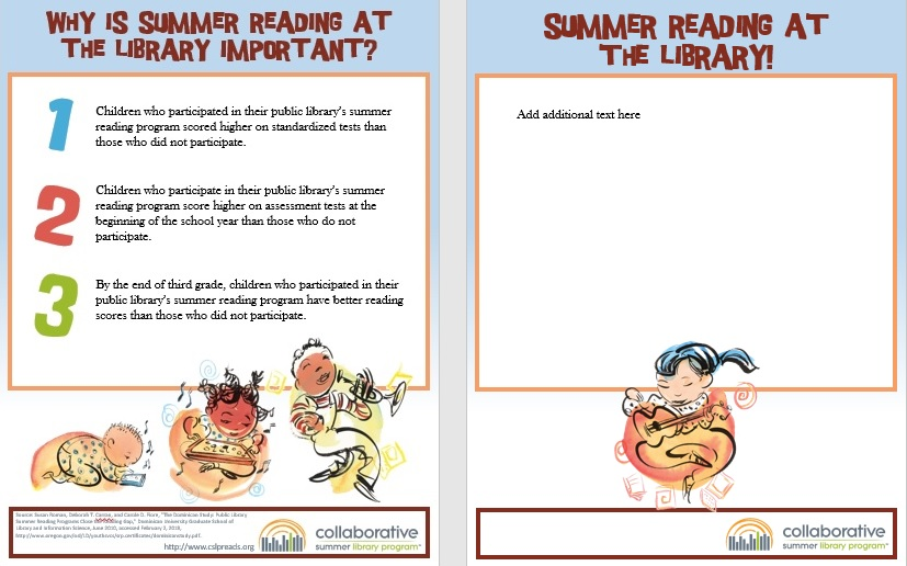 Flyer: Why is Summer Reading at the Library Important